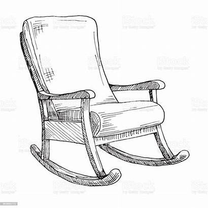 Rocking Chair Sketch Comfortable Armchair Isolated Drawing