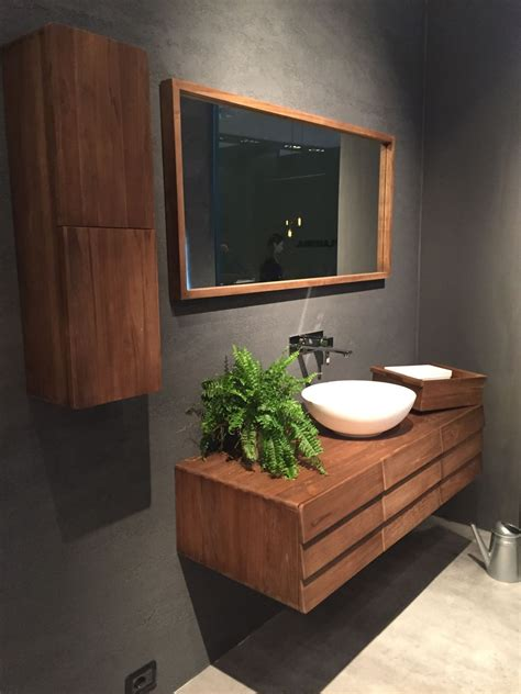 floating wood vanity   mid century flair