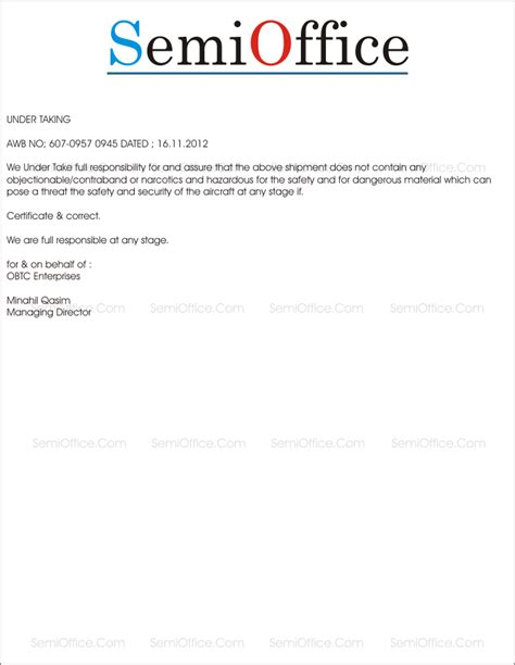 undertaking letter format  shipping