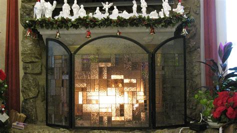 glass fireplace screen amazing stained glass fireplace screen designs with