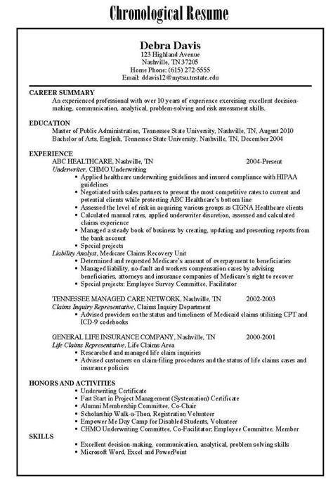 functional chronological resume sles