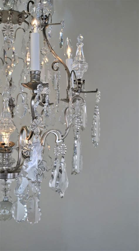 antique french  crystal  silver chandelier