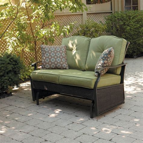 outdoor glider bench green glider patio bench cushion wicker seat home