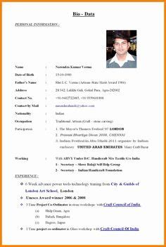 Marriage Resume Creator by Biodata Form In Word Simple Biodata Format Doc