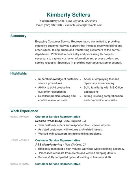 Help With Creating A Resume For Free by Customer Service Combination Resume Sles Exles