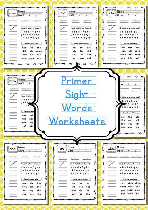 primer sight words worksheets primer sight word worksheets teaching resources