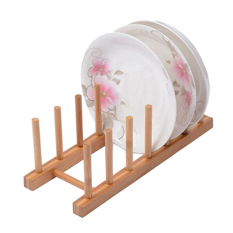 arrival wooden plate rack holder wood stand kitchen storage dish display shelf cheap wooden