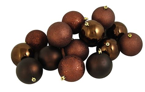 60ct chocolate brown shatterproof 4 finish christmas ball