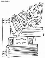 Library Coloring Pages Covers Books Binder Classroomdoodles Doodles Printable Doodle Drawing Classroom Subject Colouring Teacher Literacy Subjects Para Adult Librarian sketch template