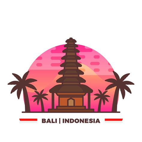 flat temple  bali indonesian pride  gradient