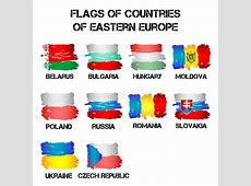 Flags Of Eastern Europe Countries From Brush Strokes Stock