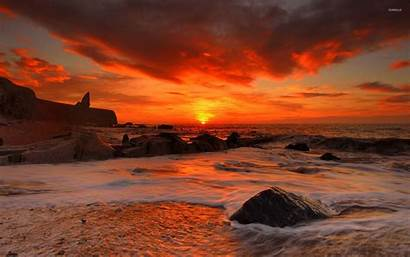 Rocky Sunset Beach Wallpapers Above Beaches Background