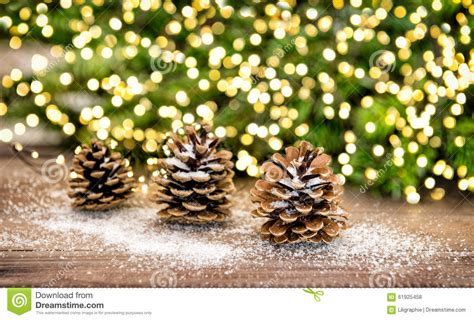 pine cone  christmas tree branches  lights