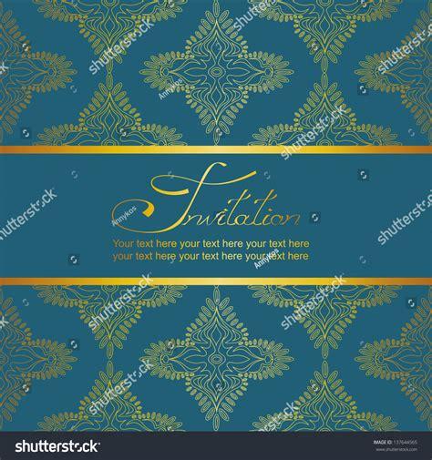 invitation card antique gold pattern  stock vector