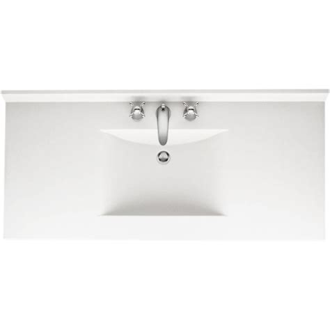 swan contour   solid surface vanity top  white  white basin cv   home depot