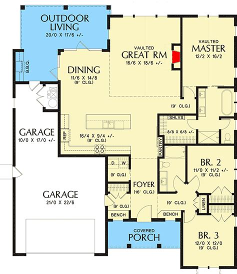 New American Floor Plans by 3 Bed New American House Plan With Vaulted Great Room