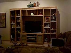 Simple Wooden Entertainment Center Lots Shelvespete Brown
