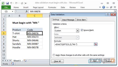 excel formula data validation    exceljet