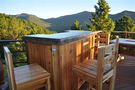 patio bar plans concrete counter  cedar base