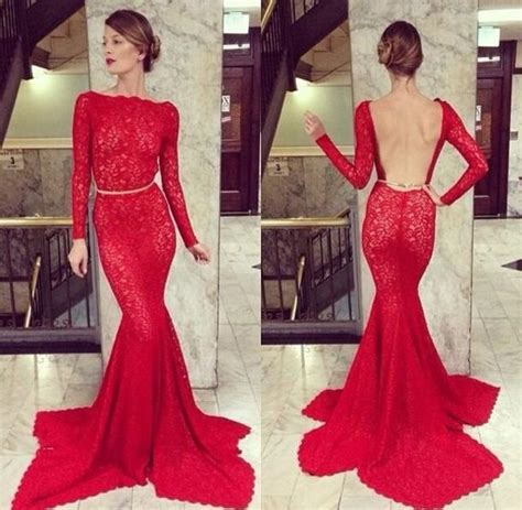 2015 Charming Red Mermaid Long Sleeves Lace Sashes Evening ...