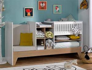Lit Bébé Combiné : lit b b combin volutif blanc et bois avec rangement transformable en lit enfant ~ Teatrodelosmanantiales.com Idées de Décoration