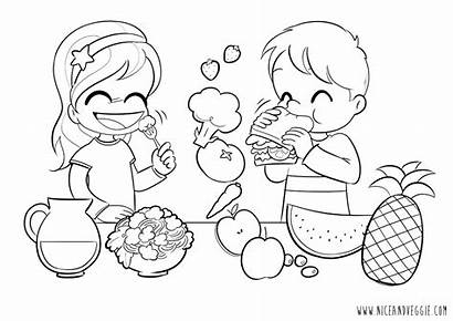 Coloring Healthy Pages Nutrition Eating Children Living