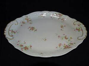 Theodore Haviland Limoges France Schleiger 149b Platter 14 U0026quot  Pink  U0026 Yellow Roses