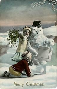 Vintage, Christmas, Snowman, Photo