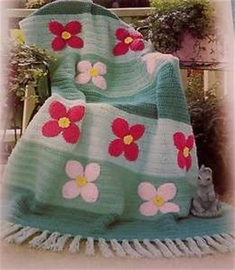 handmade 3d roses flower crochet afghan throw pink buds