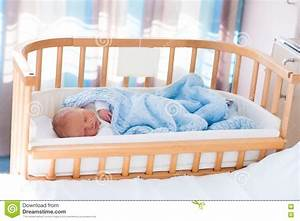 Newborn Baby Boy In Hospital Cot Stock Photo - Image: 71090361