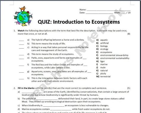 introduction to ecosystems quiz ecosystems fourth grade science science science worksheets