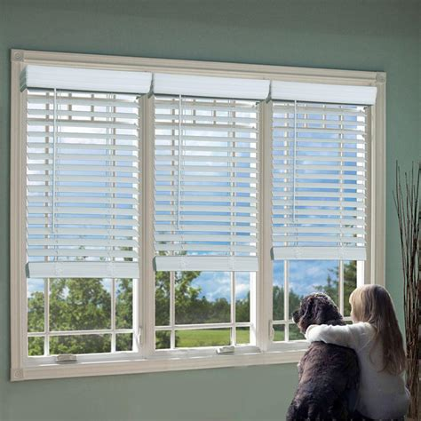 Faux Window Blinds by Lift Window Treatment White 2 In Cordless Faux