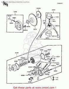 Kawasaki Kz305a1 Csr 1981 Usa Starter Motor  Starter Clutch