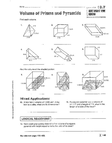 volume of prisms pyramids cylinders and cones worksheet for 8th 9th grade lesson planet