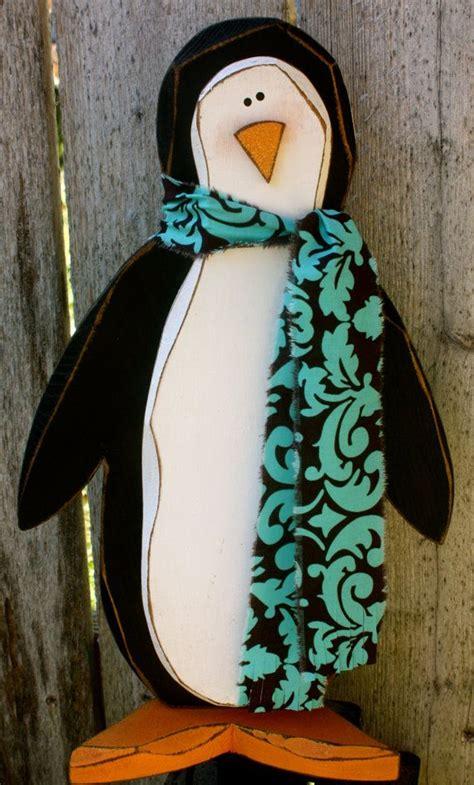 wood penguin carved wooden penguin christmas decoration