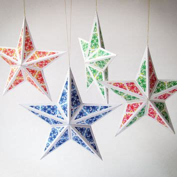 diy christmas star ornaments set of 6 from paperica on etsy