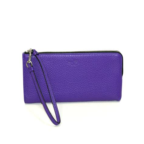 coach bleecker leather zippy wristlet wallet purple iris  coach