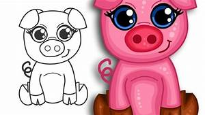 How to draw a super cute cartoon pig | Step by Step ...