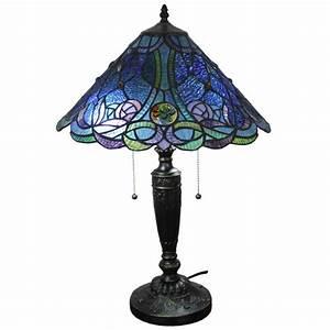 Amora Lighting Tiffany Style Blue Table Lamp - Free