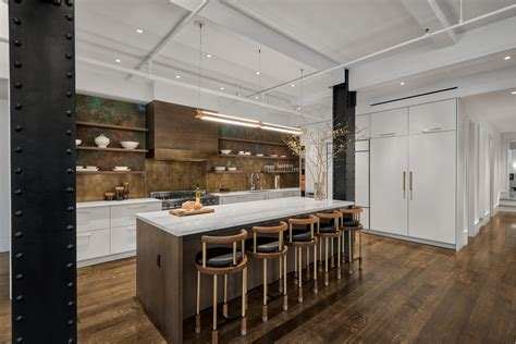 flat iron loft features modern kitchen island lighting