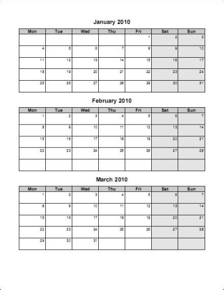 Printable 2015 Calendar Three Months Per Page 3 Month Calendar Template Word Calendar Template 2018