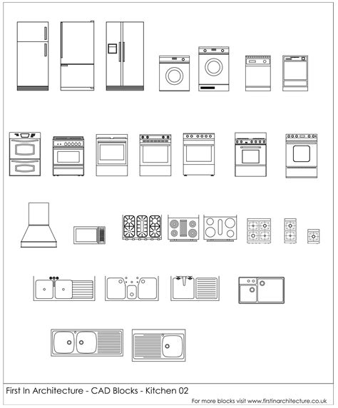 bloc cuisine autocad free cad blocks kitchen appliances 02 in