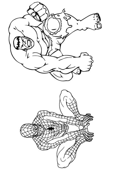 hulk  spiderman coloring page  printable coloring pages  kids