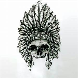 Indian Feather Skull Tattoo Design