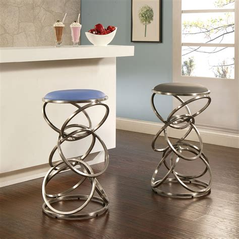 4 Contemporary Backless Counter Height Bar Stools for