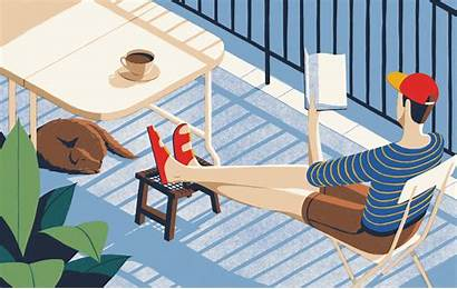 Balcony Outdoor Sitting Reading Ikea Illustration Seat
