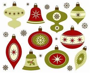 Retro Christmas Ornaments - Invitation Template