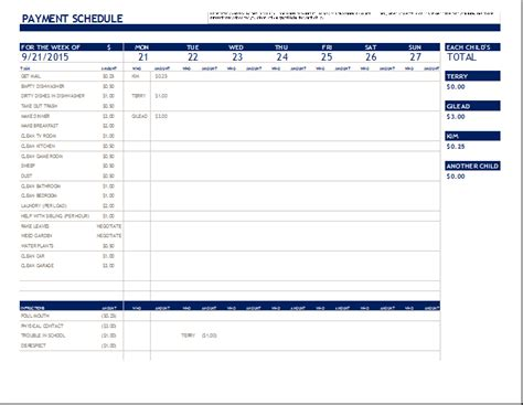 schedule  payments template printable schedule template