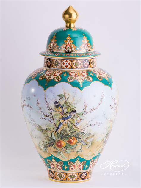 Large Vase by Vase Large Tropical Birds Herend Experts
