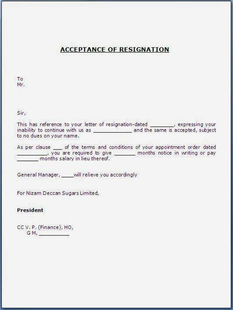 acceptance  resignation letter